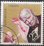 HAITI 1968 Churchill Commemoration - 25c - Karsh Portrait And Taking Leave Of The Queen FU - Haiti