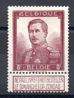 Belgique - YT N° 122 - Neuf * - MH - Cote: 100,00 € - 1912 Pellens