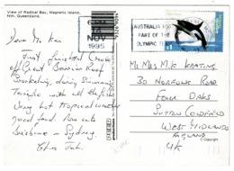 Ref 1229 - 1995 Postcard - Radical Bay Magnetic Island Queensland Australia - $1 Rate To UK - AAT Kiler Whale Stamp - Australia