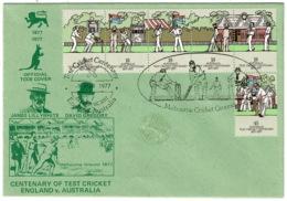 Ref 1229 - 1977 Australia TCCB Official FDC Cover - Melbourne Cricket Ground - Centenary - 1966-79 Elizabeth II