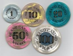 Série De 5 Jetons De Grand Casino Vichy 1-10-20-50-100 Francs - Casino