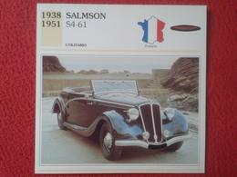 FICHA TÉCNICA DATA TECNICAL SHEET FICHE TECHNIQUE AUTO COCHE CAR VOITURE 1938 1951 SALMSON S4-61 FRANCIA FRANCE VER FOTO - Coches