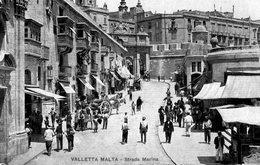 Malte. CPA. VALLETTA . Strada Mariina.  1912.  Scan Du Verso Avec Le Timbre. - Malte