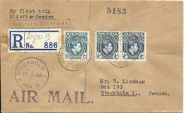 Nigeria 1946, 3 Stamps On Regd. Scandinavian Missionary Flight Cover To Sweden - Nigeria (1961-...)
