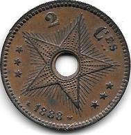 Belgian Congo 2 Centimes 1888 Km 2   Xf !! Look !!!! - Congo (Belge) & Ruanda-Urundi