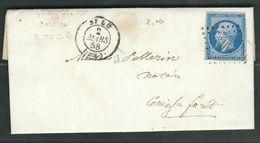 FRANCE 1858 N° 14  Sur Lettre Obl. PC 3166 Saint Lo - 1853-1860 Napoléon III