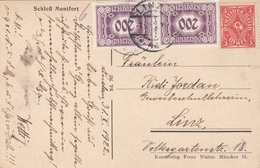 ÖSTERREICH 1922 - 3 Rpfg + 2x200 Kronen (Ank120) Nachporto Auf Ak Schloß MONFORT, Gel.v. Linz - 1918-1945 1. Republik
