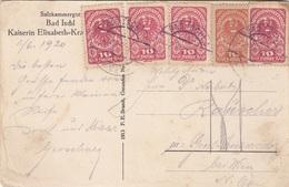 ÖSTERREICH 1920 - 5x10 Heller (Ank259+260) Auf Ak Kaiserin Elisabeth Krankenhaus In BAD ISCHL, Gel.v. Bad Ischl > ... - 1918-1945 1. Republik