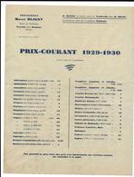 DROME-PEYRINS-ROMANS-ST DONAT-...**MARCEL BLIGNY**  PEPINIERES....TARIF 1929-1930 - Agricultura