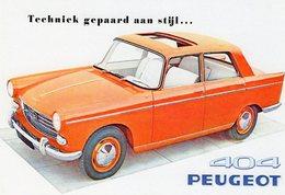 Peugeot 404 Berline  -  1959  -  Publicité  -  Carte Postale Reproduction (CPR) - Voitures De Tourisme