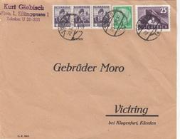ÖSTERREICH 1938 - 3x1 + 25 Gro + 5 RPfg Auf Firmen-Brief (Briefstück), Gel.v. Wien > Victring B. Klagenfurt - 1918-1945 1. Republik