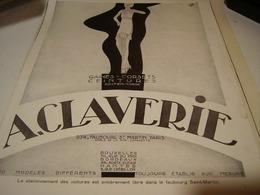 ANCIENNE PUBLICITE CORSET CEINTURE CLAVERIE 100 MODELES 1930 - Habits & Linge D'époque