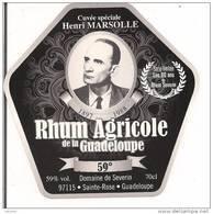 Etiquette  RHUM Agricole - Domaine De Séverin - Cuvée Henri Marsolle - 59% -  Série Limitée 80 Ans - GUADELOUPE -- - Rhum