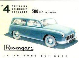 Rosengart 4CV  -  500kgs De Charge  -  1952  -  Publicité  -  Carte Postale Reproduction (CPR) - Voitures De Tourisme