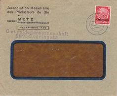 Lettre à Entête De Metz (T326 Metz3 L) TP Lothr 12pf=1°éch Le 30/11/40 - Marcofilia (sobres)