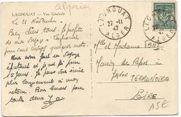 FM VERT CARTE LAGHOUAT 22.11.1947 ALGER CARTE PEU COMMUN - Marcophilie (Lettres)