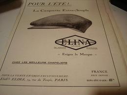 ANCIENNE PUBLICITE POUR L ETE CASQUETTES ELINA 1930 - Vintage Clothes & Linen