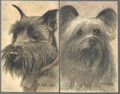 2 Cartes Chiens . Illustrateur à Identifier - Honden
