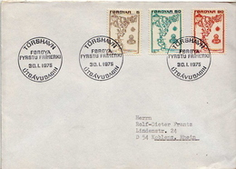 Postal History Cover: Faroe 3 Covers With Maps, Rocks - Faroe Islands
