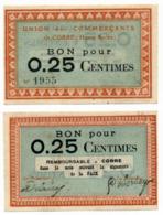 1914 - 1918 // Haute Saône // Ville De Corre //  Bon De Vingt Cinq Centimes - Bonds & Basic Needs