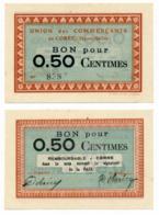 1914 - 1918 // Haute Saône // Ville De Corre //  Bon De Cinquante Centimes - Bons & Nécessité