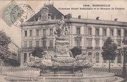 Cp , 13 , MARSEILLE , Fontaine Henry Estrangin Et La Banque De France - Canebière, Centro
