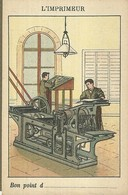 """1462 """" LES METIERS ET LEURS OUTILS  - N° 11 - L'IMPRIMEUR """" FIGURINA DIDATTICA ORIGINALE - Schede Didattiche"""