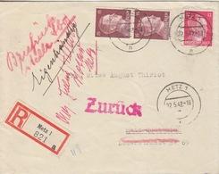 Lettre De Rec De Metz (T326 Metz1 L) TP Reich 12pf+15x2=1°éch Le 22/5/42 Pour Metz + Zur¨ck - Postmark Collection (Covers)
