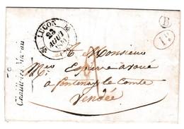"""LAC Du 20 Juin 1841- Cursive """" 79 CHAILLE LES MARAIS """" + CAD Type 12 LUCON + Marque Boite Rurale B PUYRAVAULT Vendée - Postmark Collection (Covers)"""