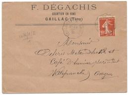 ENVELOPPE / SEMEUSE 10c / AMBULANT TOULOUSE A BRIVE / 1912 / COURTIER EN VINS GAILLAC - Storia Postale