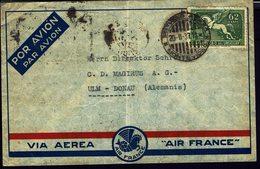 URUGUAY - 1937 - Affranchissement 62 Ct Aéréo Sur Enveloppe De Montevideo Par Avion, Via Paris Pour ULM-Donau (ALL) B/TB - Uruguay
