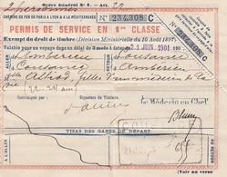 BILLET DE TRAIN. 1 JUIN 1901. 1° CLASSE DES CHEMINS DE FER PLM. AMBERIEUX,COUSANCE, BOURG-EN-BRESSE - Transportation Tickets