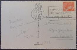 """Flamme Publicitaire """"Notre Empire Veut Une Marine Forte Et Toujours Prête"""" Sur CP Paris - 1942 - Timbre YT N°415 - Postmark Collection (Covers)"""