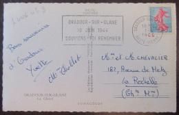 Flamme Publicitaire Commémorative Oradour Sur Glane 10 Juin 1944 Sur CP Photo - 1964 - Timbre YT N°1233 - Marcophilie (Lettres)