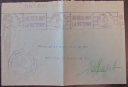 """Flamme Publicitaire """"Un Seul But La Victoire"""" Sur Enveloppe En Corr. Militaire - Rabat, Le 26 Octobre 1943, Signée - Oblitérations Mécaniques (flammes)"""