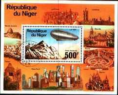 72583) Niger 1976 Zeppelin-aeronave NEW YORK ROMA LONDRA Blocco 14-USATO - Niger (1960-...)
