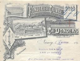 Facture Photo 189? / 54 NANCY / Ch. DONDERS / Fonderie De Cuivre / Bronze Et Métaux Blancs, Système BABCOCK - France