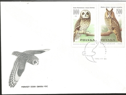 J) 1990 POLAND, OWLS, MULTIPLE STAMPS, SET OF 3 FDC - 1944-.... Republic