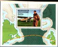 72590) FRANCOBOLLI COSTA D'AVORIO Cote D'Ivoire Blocco 7 Aereo Aircraft Lindbergh -USATO - Congo - Brazzaville