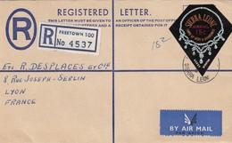 COVER  SIERRA LEONE. REGISTERED FREETOWN TO FRANCE. BACK STATIONERY 18c - Sierra Leone (1961-...)