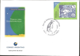 J) 1997 ARGENTINA, NATIONAL COMPETITION DRAWING ONE ECO-STAMP, PENGUIN, FDC - Argentina