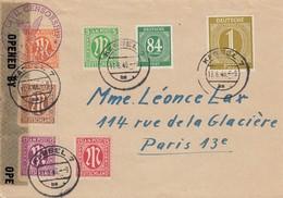 LETTRE ALLEMAGNE ZONE OCCUPEE. 17 6 46. KASSEL POUR PARIS. CIVIL MAILS CENSORSHIP - Bizone