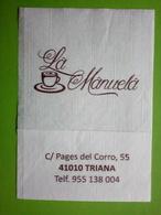 Servilleta,serviette .La  Manuela,Sevilha,Espanha - Serviettes Publicitaires