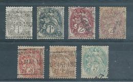 FRANCE   Yvert  N° 107-107a-108-108a-109-110-111  Oblitérés - 1900-29 Blanc