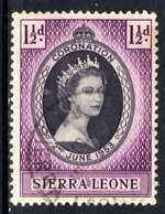 Sierra Leone 1953 QE2 1 1/2d Black & Purple Coronation SG 209 ( H1048 ) - Sierra Leone (...-1960)