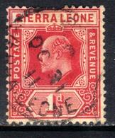 Sierra Leone 1907 - 12 KEV11  1d Carmine Red SG 100 ( H1052 ) - Sierra Leone (...-1960)