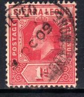 Sierra Leone 1907 - 12 KEV11  1d Carmine Red SG 100 ( H1049 ) - Sierra Leone (...-1960)