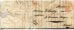 """Precurseur Illustré Theme Distillerie Cad LESSINES Type 14 + PP Box Rouge-Fontaine 1837 Man """"Franco"""" Taxe3 Verso + Text - 1830-1849 (Belgique Indépendante)"""