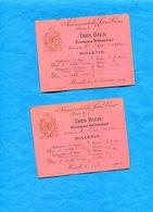 """Pensionnat Sacré Coeur -MARSEILLE-année 1900-2 Bulletins """"très Bien"""" Récompense Hebdomadaire - Diplômes & Bulletins Scolaires"""