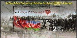 TURKEY , 2018, MNH, MILITARY, HORSES, FLAGS, CAUCASIAN ISLAMIC ARMY ENTERS BAKU, SOLDIERS, MAPS, S/SHEET - Storia